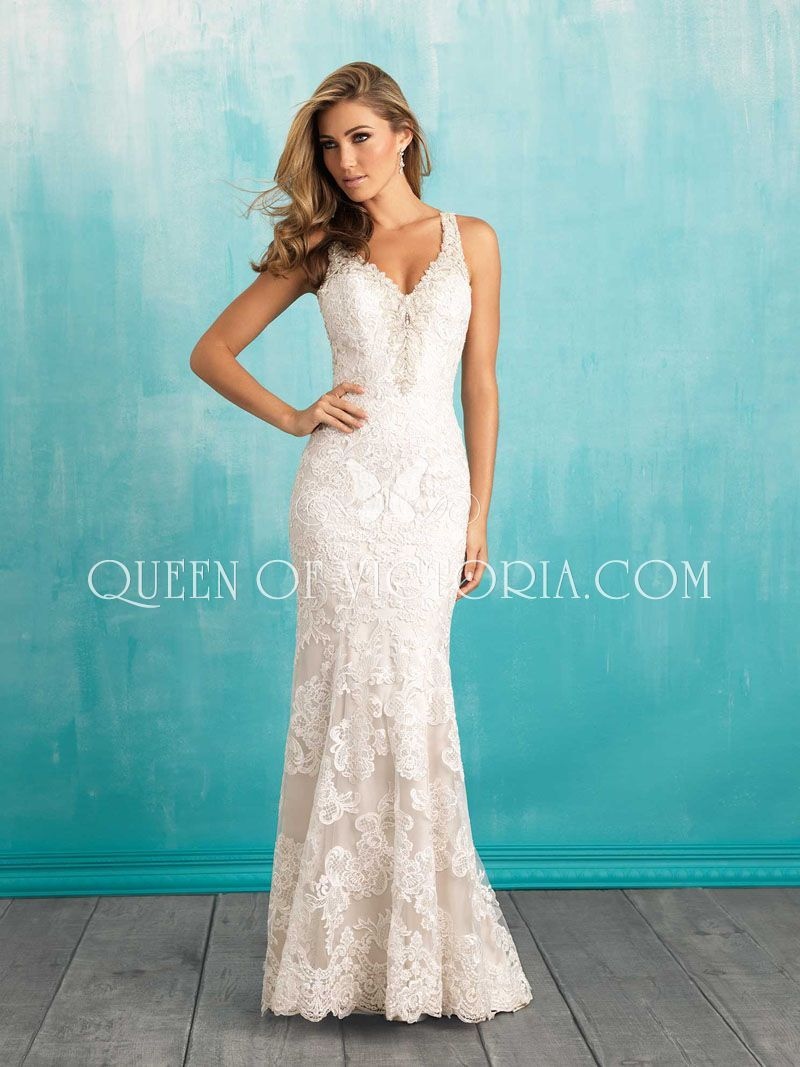 This vintage slim-fitting sheath bridal gown features high-contrast ...
