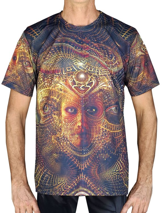 130f38d1016d Psychedelic T-shirt 'Chrono Traveller'. All over sublimation print. Trippy T -shirt, UV active, psy t