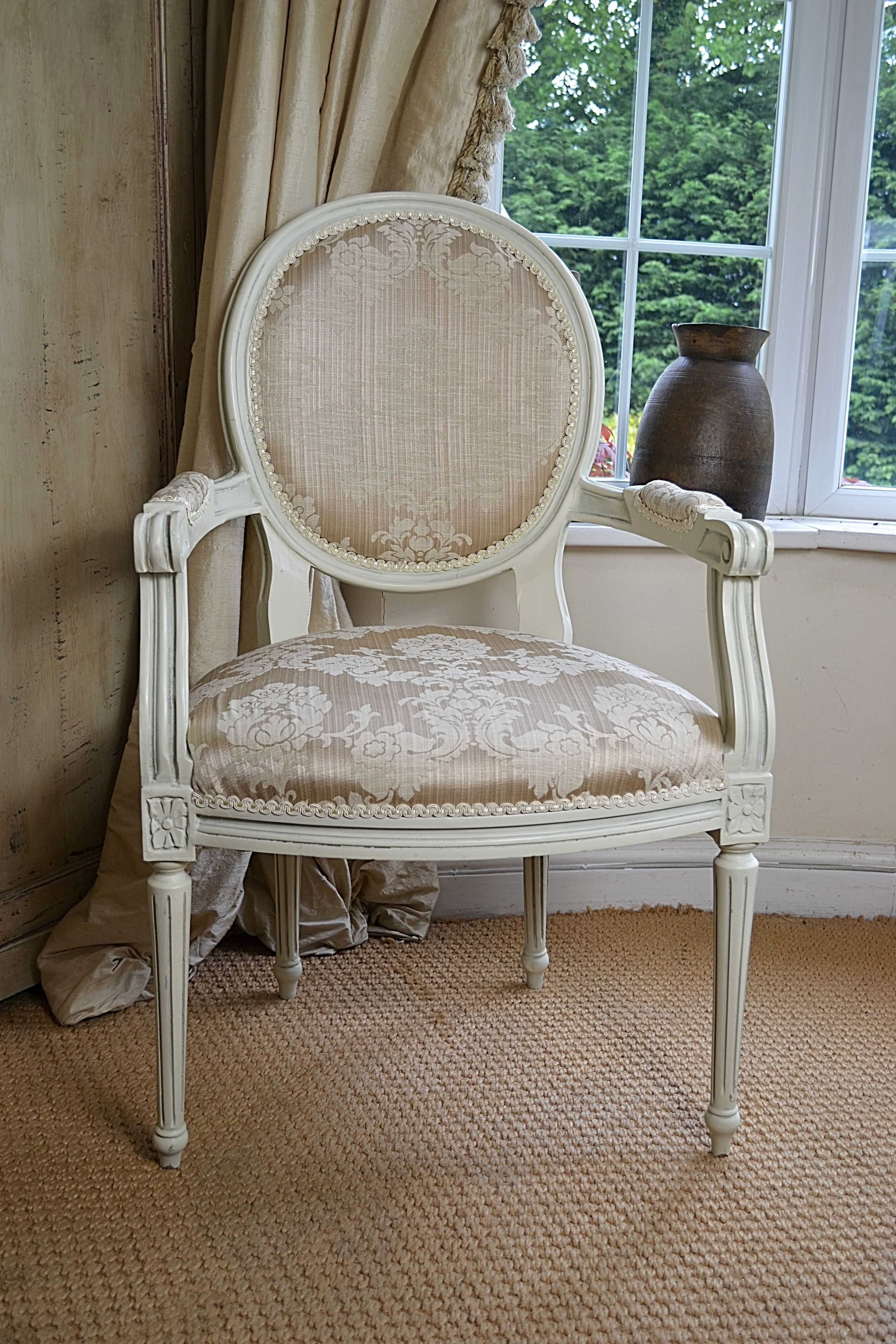 a french style chair painted in cream with champagne coloured fabric rh pinterest com