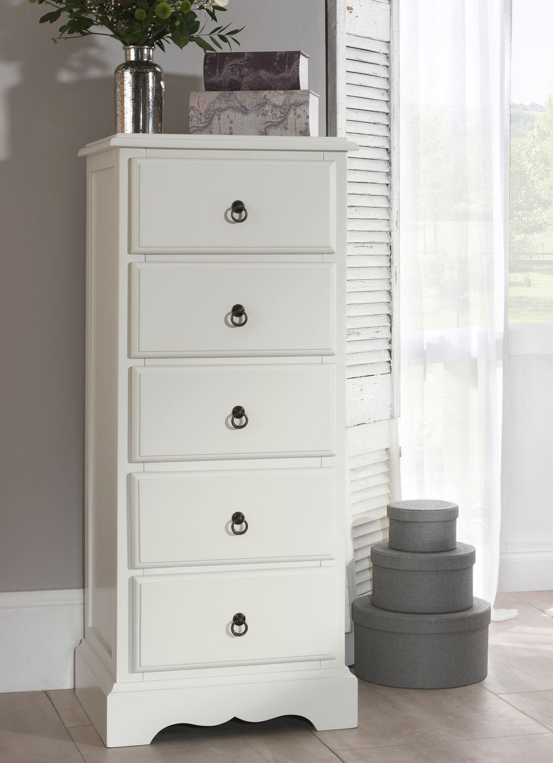 Best Romance 5 Drawer Tallboy Antique White Narrow Chest Of 400 x 300