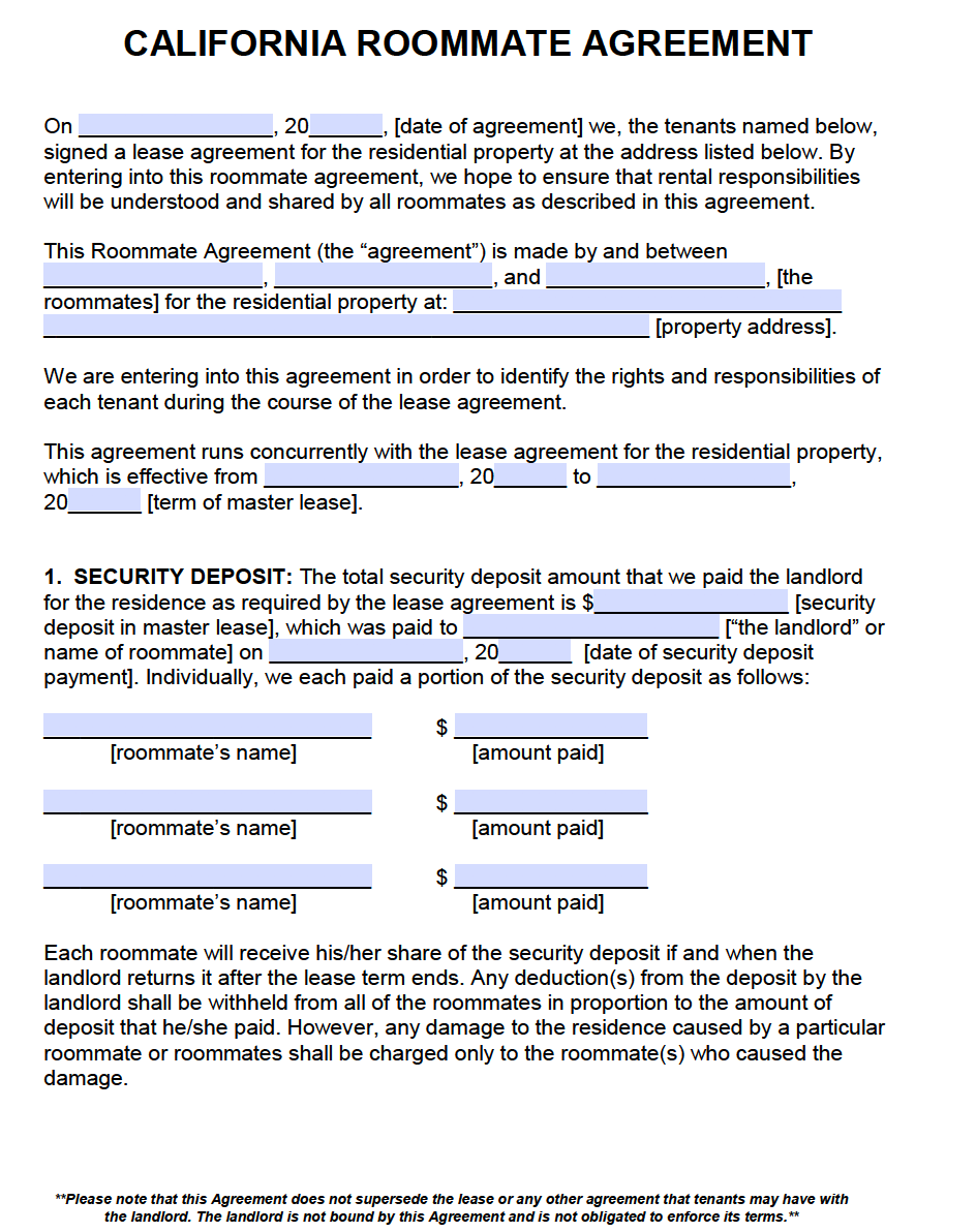 free california roommate agreement template pdf word roommate