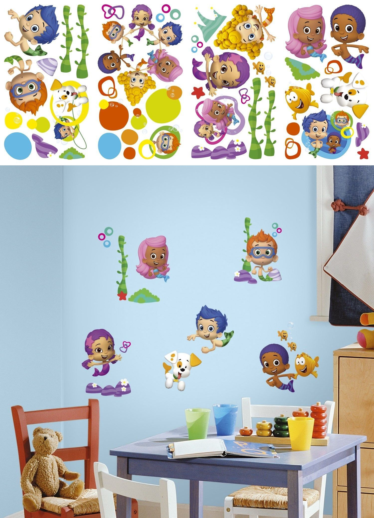 Bedroom Playroom And Dorm D Cor 115970 New Bubble Guppies Wall Decals Nickelodeon Stickers Kids Bedroom T Toy Room Decor Kids Bedroom Toys Wall Decor Stickers Bubble guppies bedroom decor
