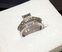 Green Amethyst, Peridot, Diamond Ring in Sterling Silver (Size 9) 3.10 | Blue Gemstone Jewelry LLC