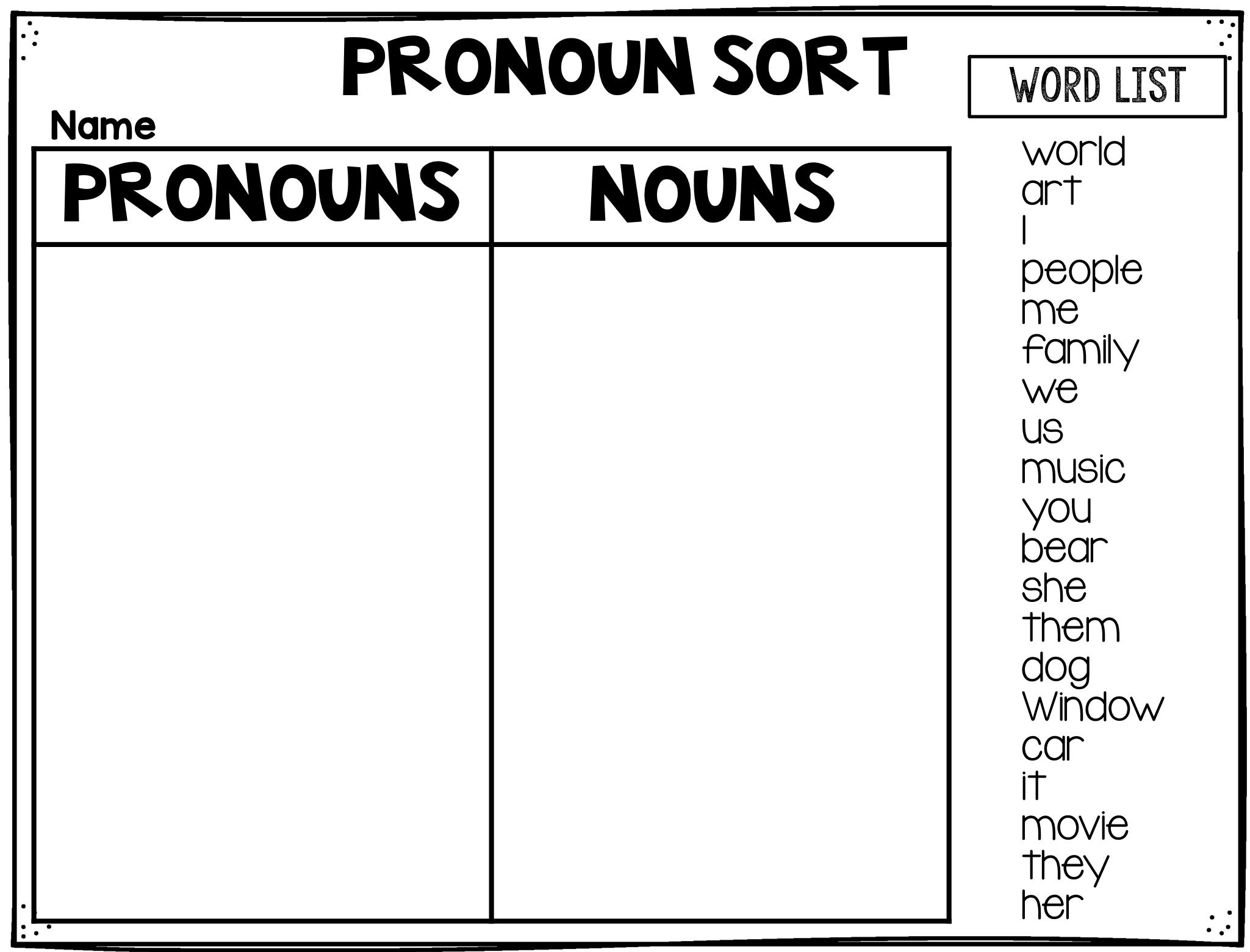 Pronoun Sort Digital Freebie