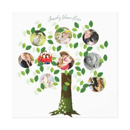 Create Own Family Tree 9 Photo Template Collage Canvas Print
