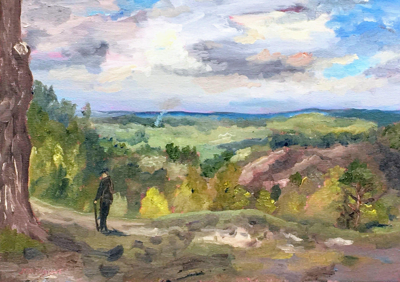 View near Hindhead, Surrey An original 'plein air' oil