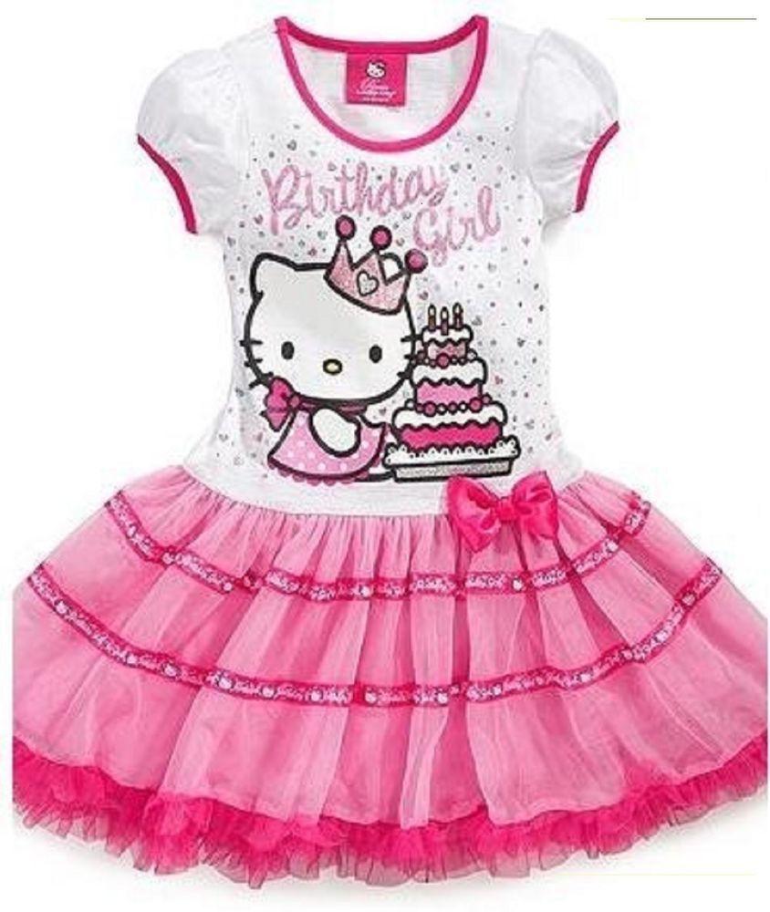 ad3dbd4a85 NEW Sanrio Hello Kitty Girls Pink 'Birthday Girl' Tutu Dress-Size  2T,3T,4,5,6,6x #HelloKitty #DressyEveryday