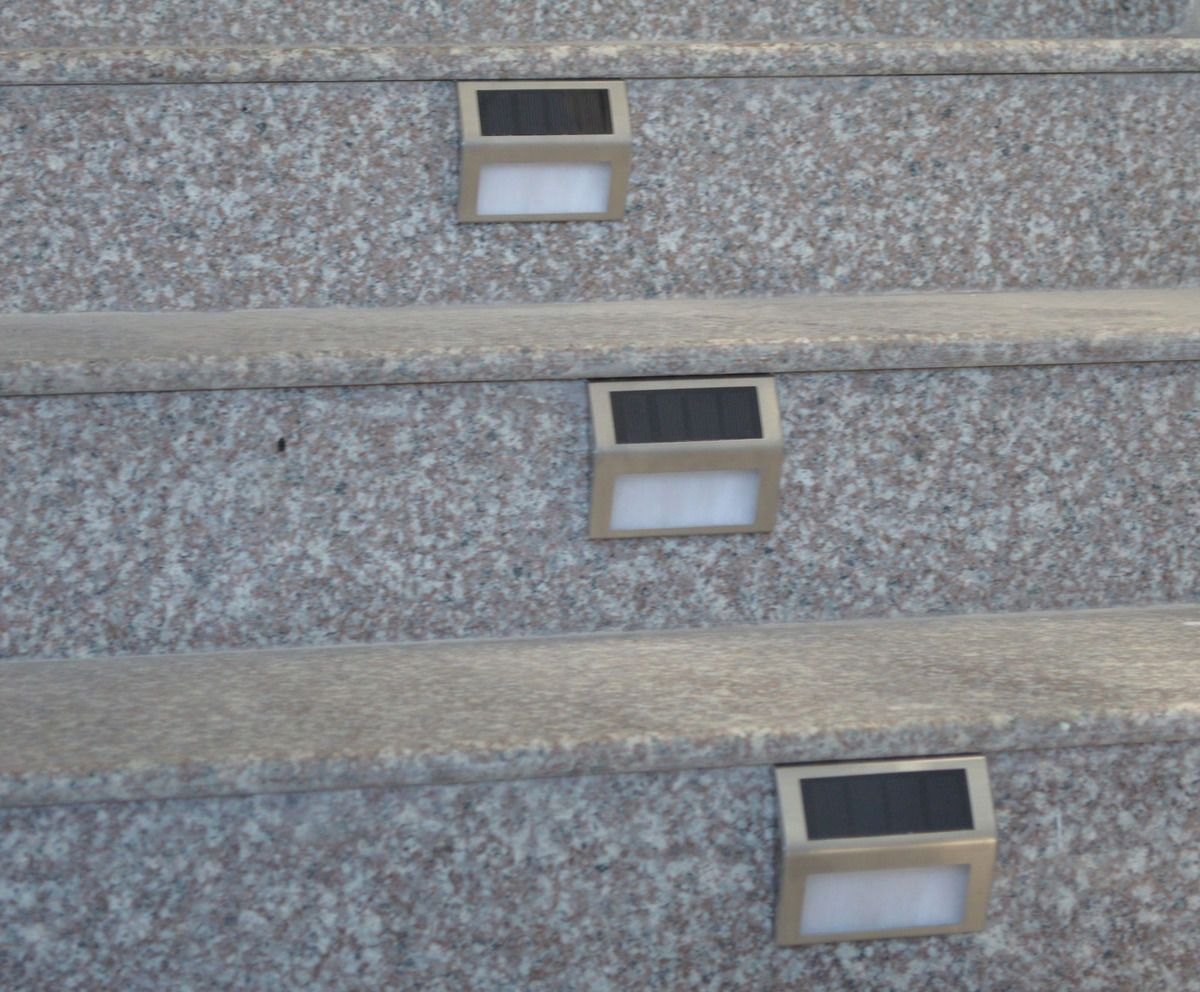Led solar powered stainless steel outdoor corridor garden stairs dark deck stairs easily install these solar lights to brighten them up could also mozeypictures Image collections