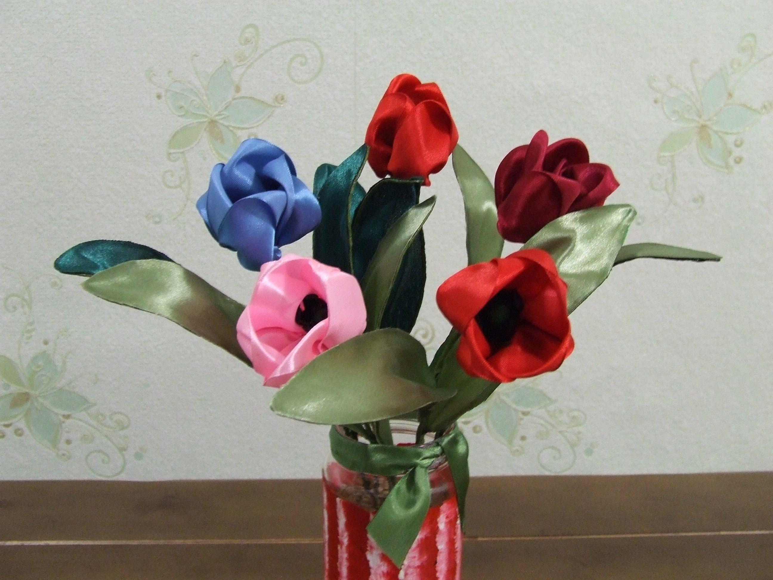 Букет цветов из лент своими руками фото 5