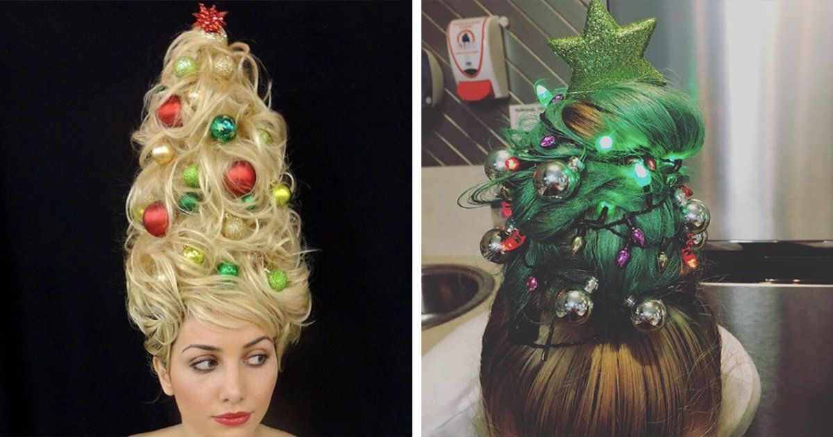Expect To See A Lot Of People With Christmas Tree Hair This Holiday Season Christmas Tree Hair Holiday Beauty Beauty Hair Makeup
