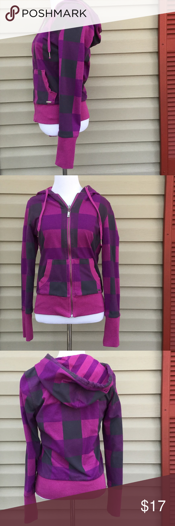 Nollie women's reversible pink,purple hoodie Very nice women's zip front hoodie, one side is pink/ purple striped, other side is pink, purple and gray plaid. Both sides have front pockets.59% cotton 41% polyester, no stain or holes EUC Nollie Jackets & Coats