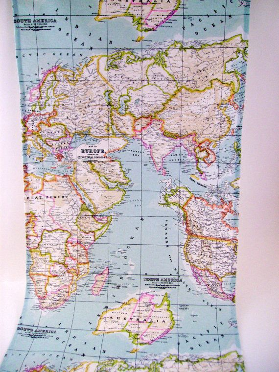 Map fabric runner 6ft table runner world map table runner map map fabric runner 6ft table runner world map table by chezlele gumiabroncs Gallery