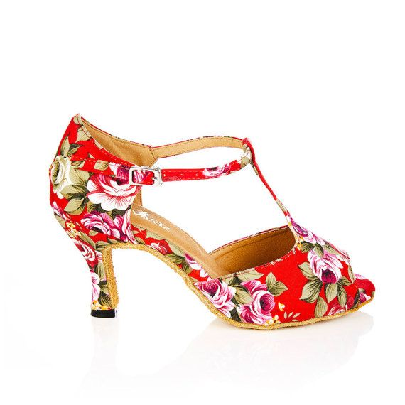 When a body moves, it is the most revealing thing, dance for me a minute, and Ill tell you who you are - Mikhail Baryshnikov - Vanessa Red floral print canvas latin dance dance shoes. Perfect for the dancer with a difference or the off beat, quirky bride.  Dance styles include salsa, bachata, rumba, bridal, ballroom, swing, jive and all other latin dance styles.  Complete the look with a pair of dark denim jeans and a sweetheart tank top, a 50s style swing dress or style up as you see fit…