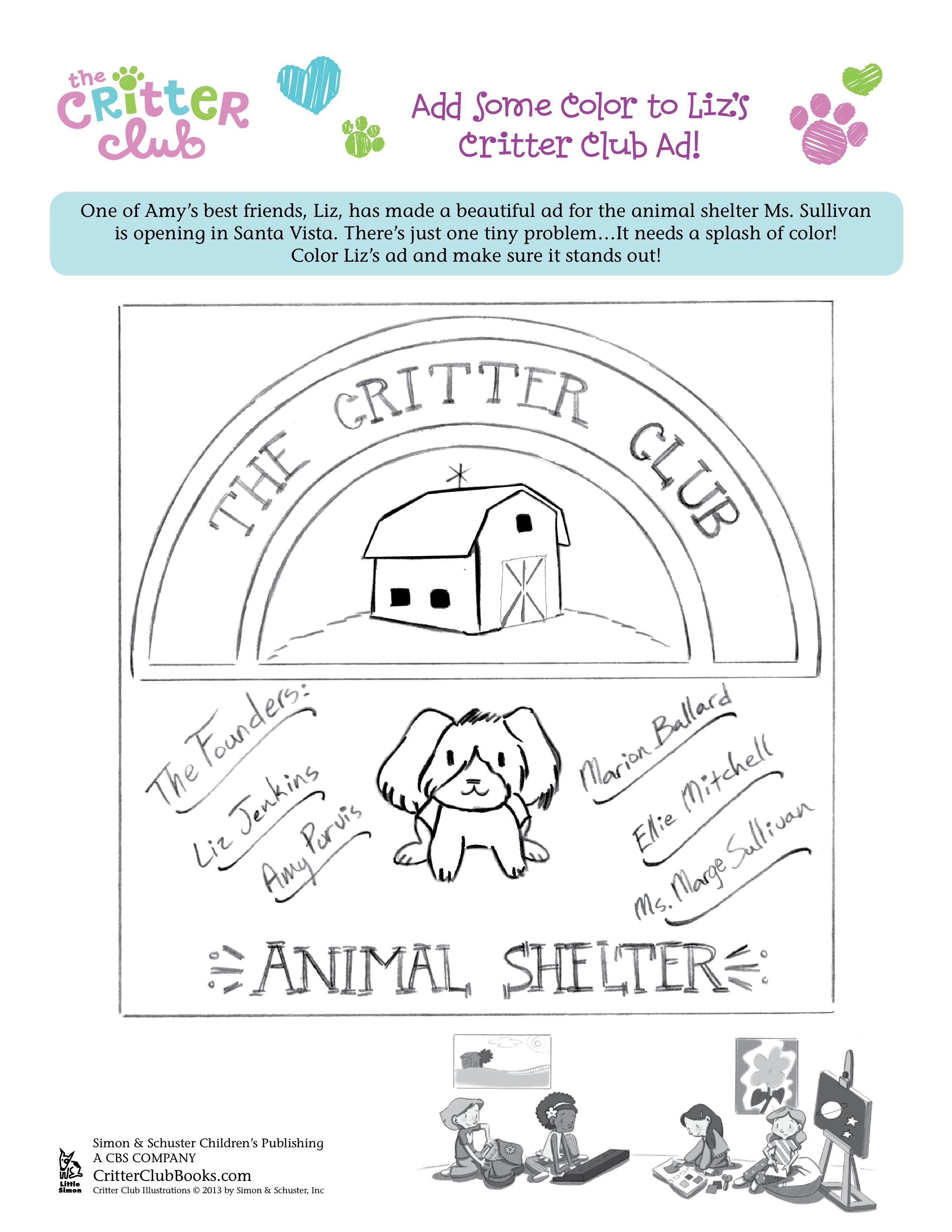 Critter Club Colouring Classroom Fun Club Color Activity Sheets