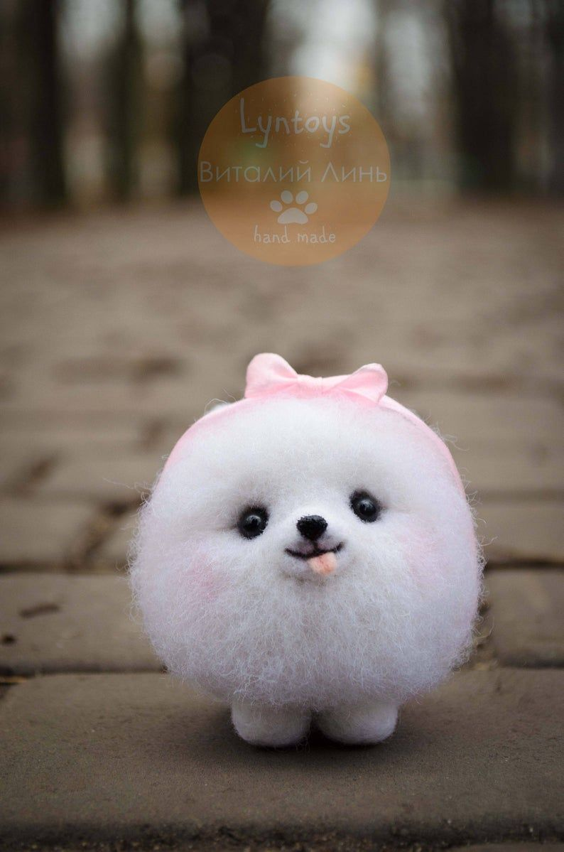 Pomeranian Collectible Toy, Felted Puppy Figurine, Fiber