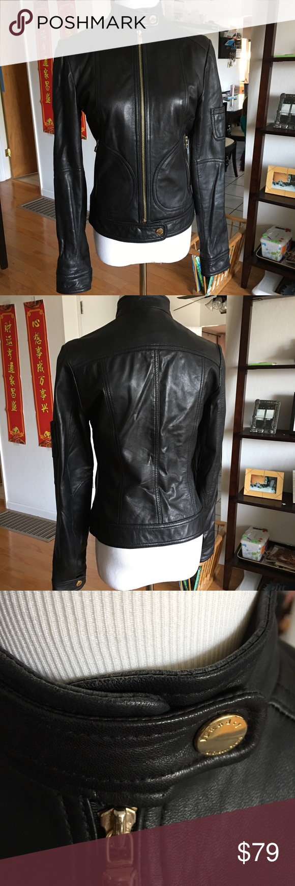 Laundry Leather Motorcycle Jacket Sz XS Genuine leather. Beautiful black leather motorcycle jacket with gold metallic snap closure at the neck, waist and sleeves. Overall in good condition with minor wear at the neck and sleeves. Sz XS. Smoke/pet free home. Laundry by Shelli Segal Jackets & Coats Blazers