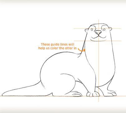 Draw an Otter | Feutre | Pinterest | Nutrias, Como dibujar animales ...