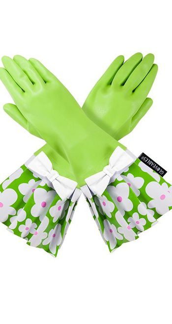 Lime Green Gloveables With Flowers Will Brighten Any Kitchen Or
