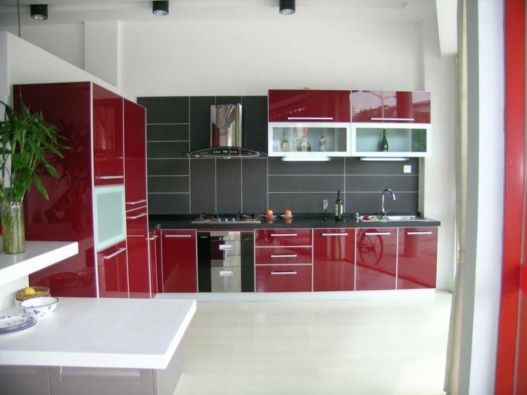 Cuisine Grise Et Rouge Associations Harmonieuses En Idées - Meuble cuisine laque rouge pour idees de deco de cuisine