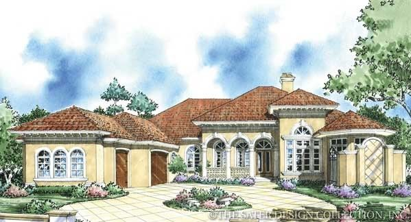 "Sater Design's ""Laparelli"" home plan from our Mediterranean house plan portfolio. #luxuryhomeplans www.saterdesign.com"