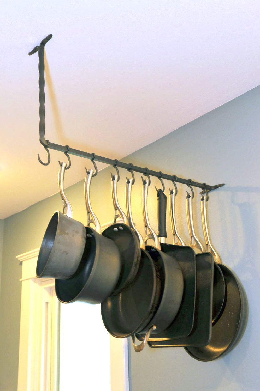 Hand Forged Iron Twisted Bar Simple Pot Rack with Permanent Hooks by ...