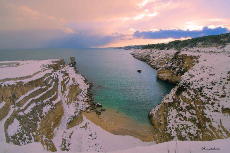 Porto Cesareo (Le) sotto la neve.