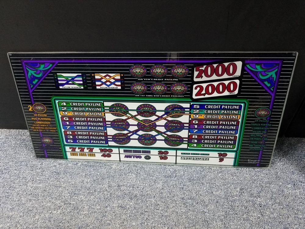 igt s2000 triple diamond 9 line game glass kit glass reel strips
