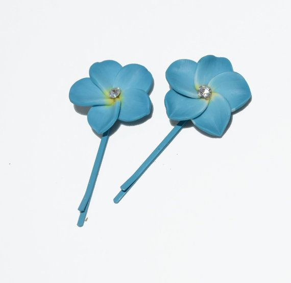 Adorable Flower Hairpins with tiny rhinestone center color coated bobby pins on Etsy, $4.00