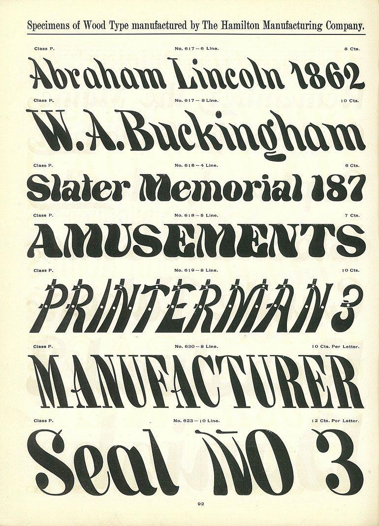 Hamilton Wood Type Catalog 14 Year 1899 1900 Type