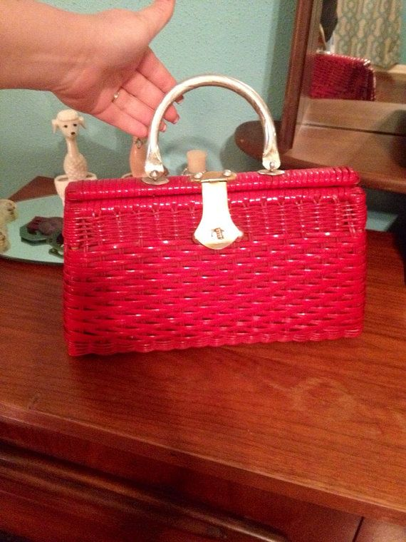 Vintage 1950s  Red and White Nylon Woven Purse