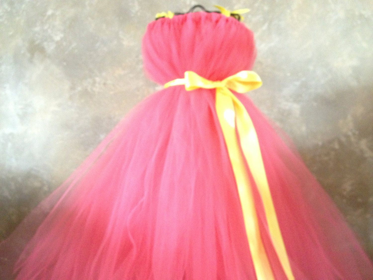 Coral and yellow flower girl dress via etsy dresses