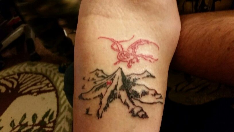 My Smaug And The Lonely Mountain Tattoo.