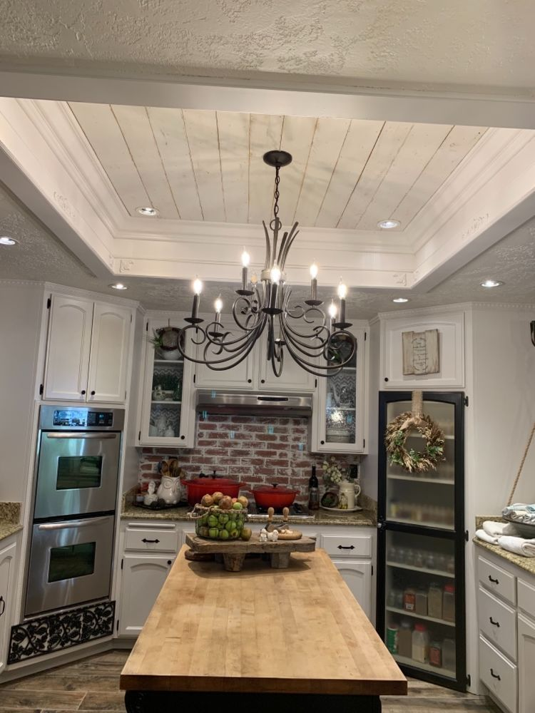 A great way to update that old 1980s kitchen ceiling tubular fluorescent lighting. #diy #home #interiordesign #kitchen #ceiling