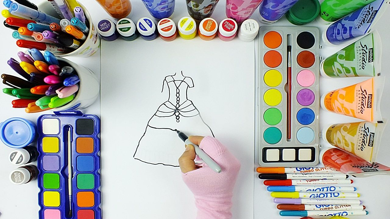 Nice Dress Drawing And Painting Learning Colors Education For Kids