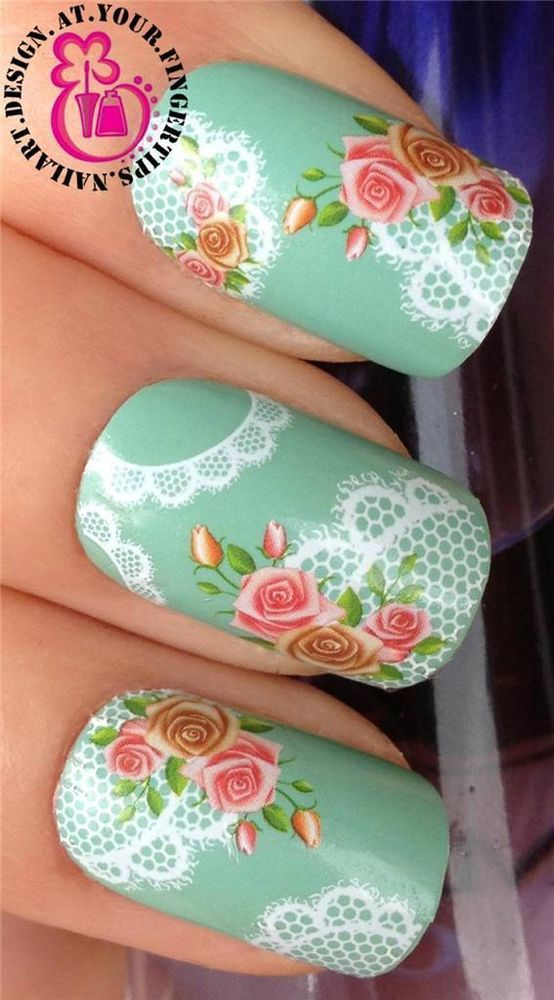 Nail Art Water Transfers Decals Stickers Decoration White Lace Rose