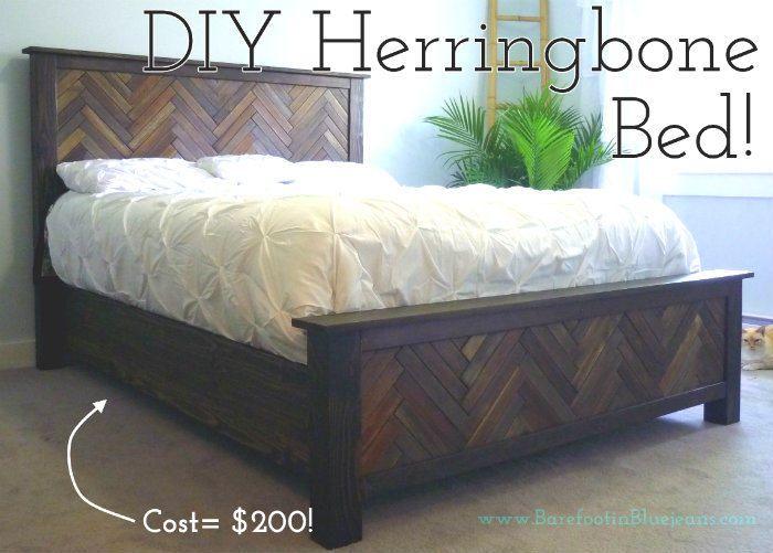 Diy Project How To Diy Herringbone Bed Jenns Blah Blah Blog Herringbone Bedding Bed Frame Plans Queen Bed Diy