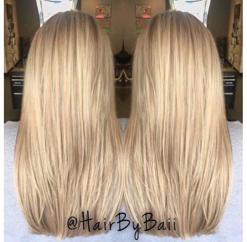 Blonde hair. Full highlight. Enlightener and toner. All Aveda color.