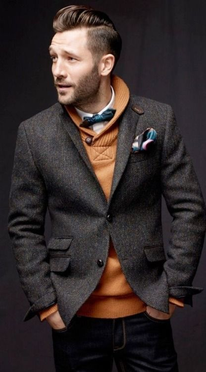 a956fcdbc7b07 Tweed Jacket paired with orange knit sweater and dapper bow tie ...