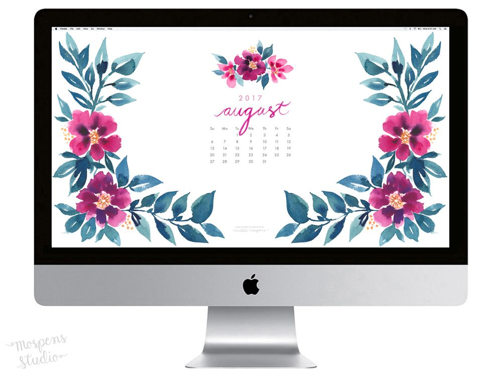 Calendar Wallpaper Originals : August watercolor desktop wallpaper
