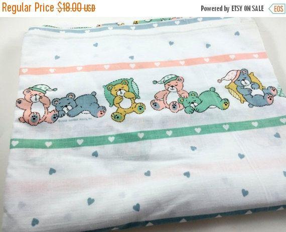 Sale Vintage Teddy Bear Fabric Baby Fabric Heart Fabric