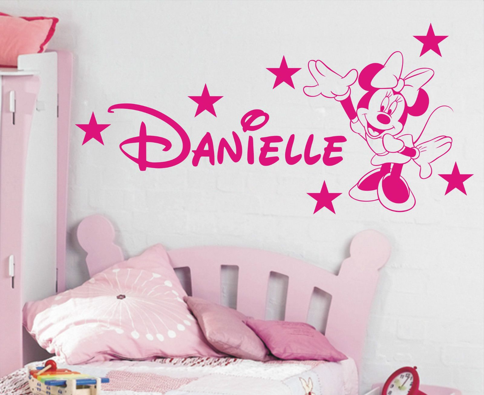 Minnie Mouse Wall Stickers | Minnie Mouse Personalised Girls Bedroom Wall  Sticker Kit, Loads Of