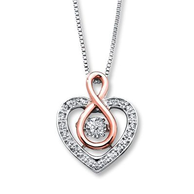 Fine Jewelry Love in Motion 1/8 CT. T.W. Diamond Sterling Silver Love Pendant Necklace sBzqSHw