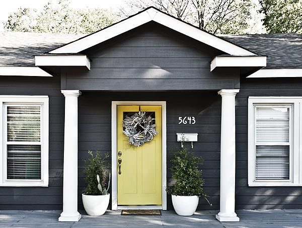 Dark Gray Exterior With Bright Door Art Studio Pinterest Grey Exterior Dark Grey And Bright
