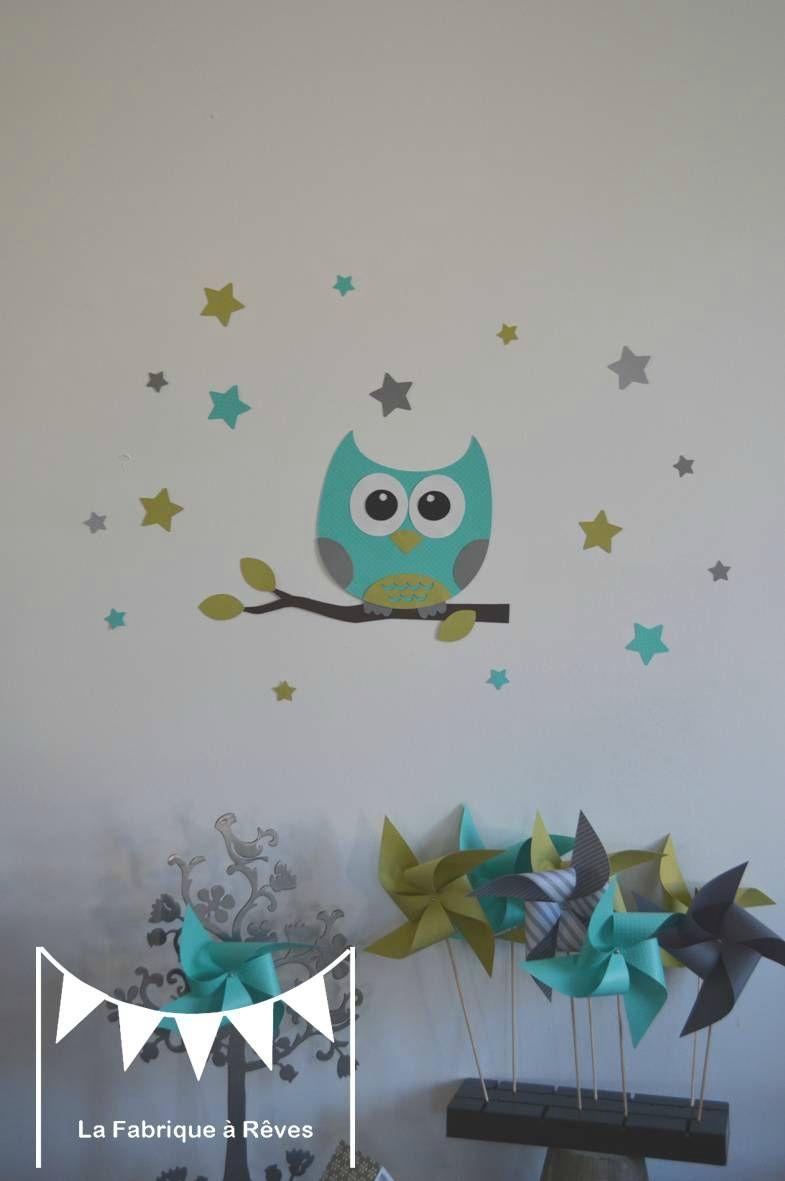 stickers décoration chambre enfant fille bébé garçon hibou étoiles anis  turquoise gris 2
