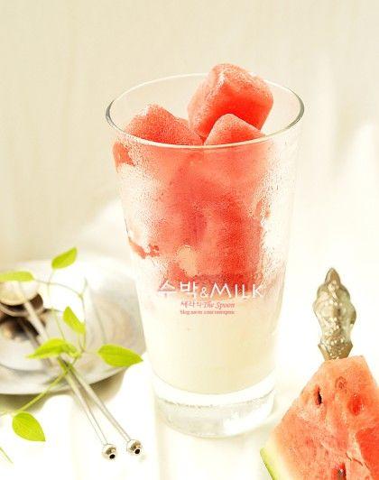 아이스큐브 수박빙수 라떼. 초간단 여름음료. 수박빙수 만들기 : 네이버 블로그