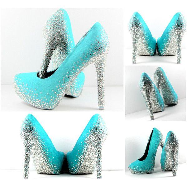 Aqua Blue Heels With All Swarovski Crystal Soles (Can Be Custom ...