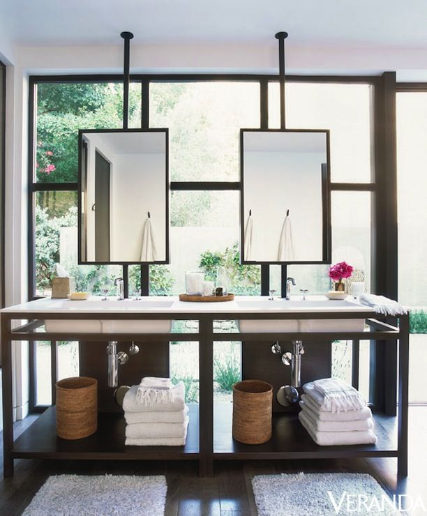 Bathroom Mirrors Over Vanity sleek bathroom design with ceiling mounted hanging mirrors over