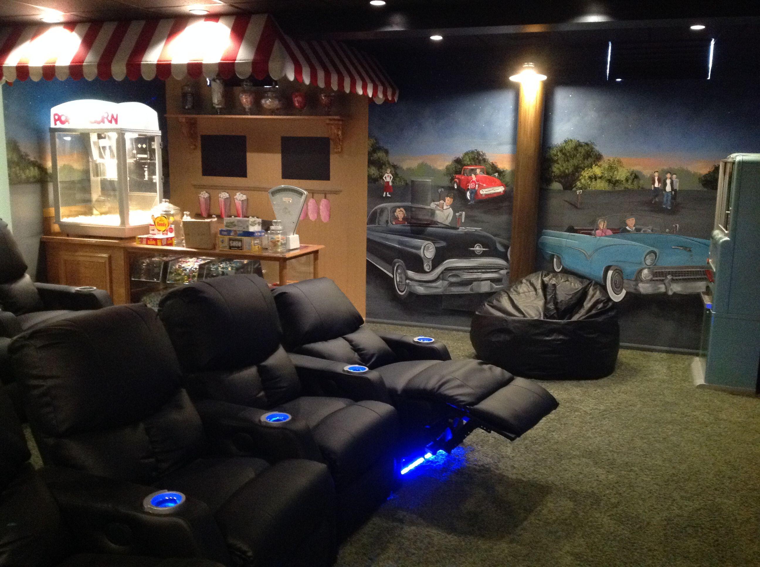 50u0027s Style Drive In Theater Room In A Basement In Monroe Mi