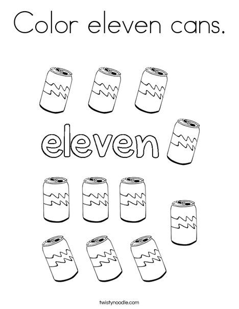 Color Eleven Cans Coloring Page Coloring Pages Holiday Lettering Color