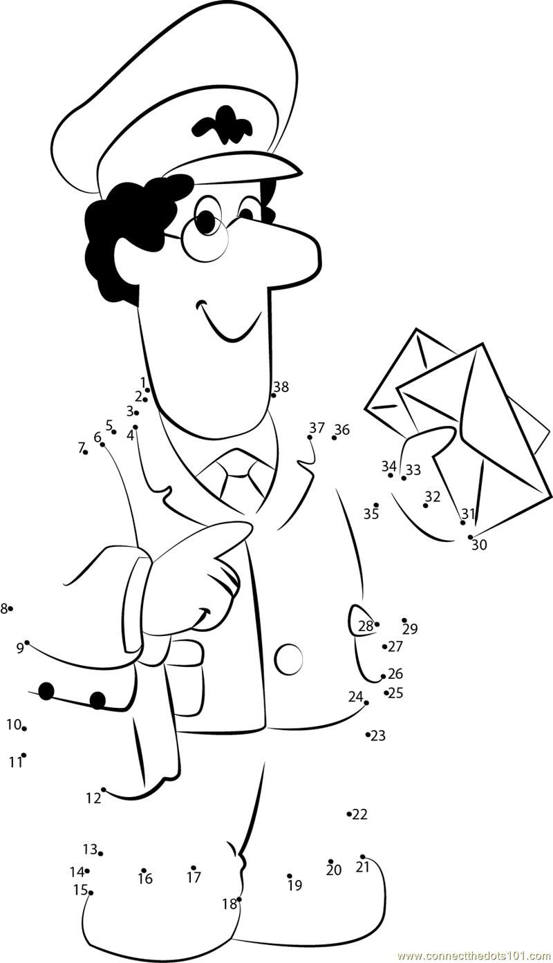 Download or print Postman Pat dot to dot printable